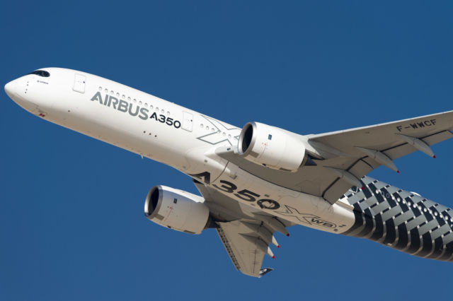 The Airbus A350 XWB aircraft, shown here during the Dubai Airshow in 2015, has more than 50,000 sensors collecting flight and performance data totaling over 2.5TB a day.
