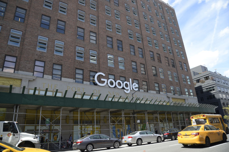 Google's current New York Headquarters is in the former Port Authority of New York building. It occupies an entire long city block between 8th and 9th Avenues and between 15th and 16th Streets.