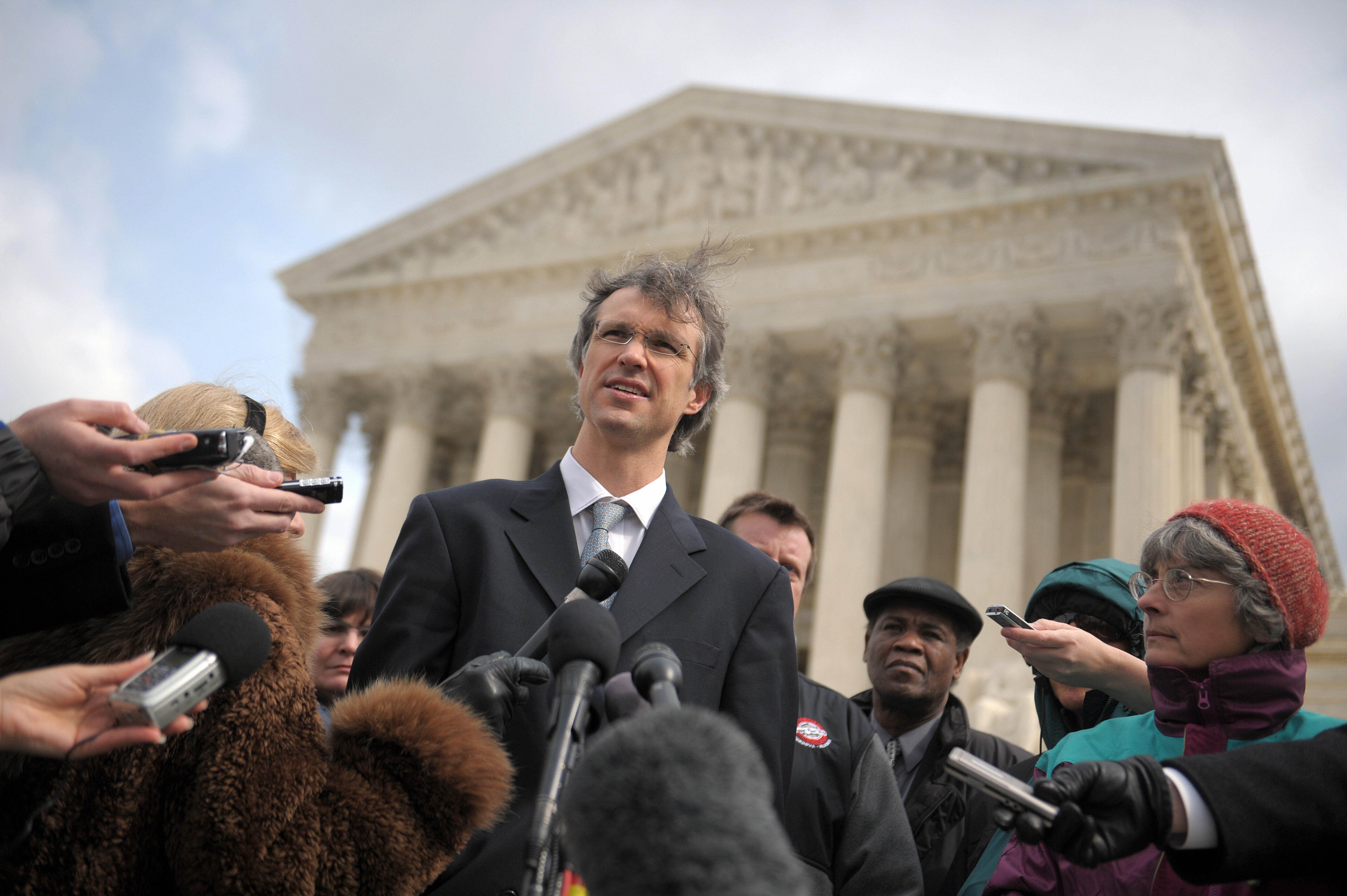 Stanford University law professor Jeffrey Fisher, representing the Alaskan plaintiffs, makes remarks to the press after giving oral arguments before the US Supreme Court on February 27, 2008 in Washington, DC.