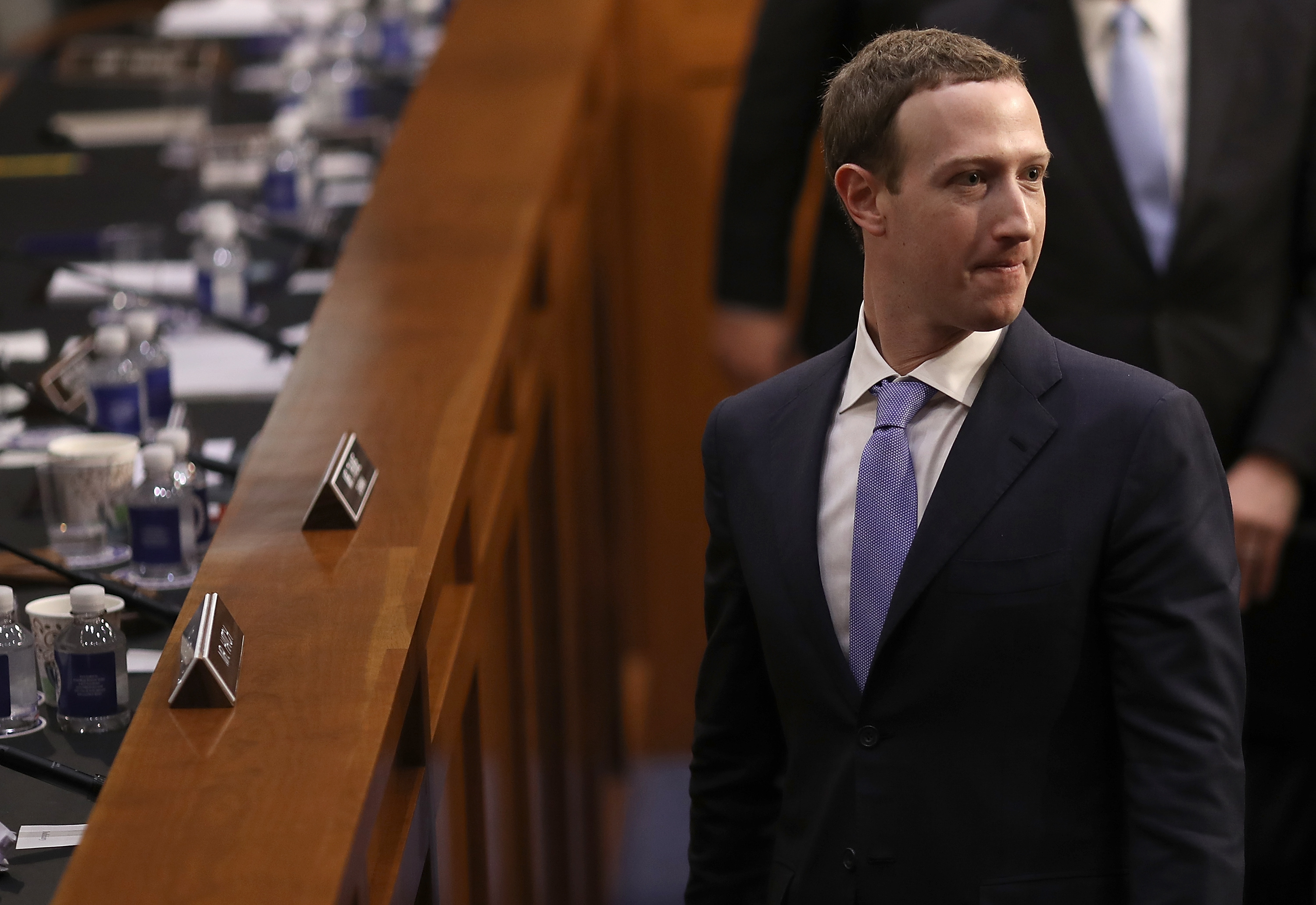 Facebook CEO Mark Zuckerberg departs after testifying on Capitol Hill, April 10, 2018.