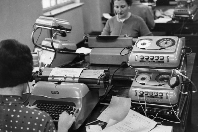 Secretaries use typewriters, before the word processor changed everything.