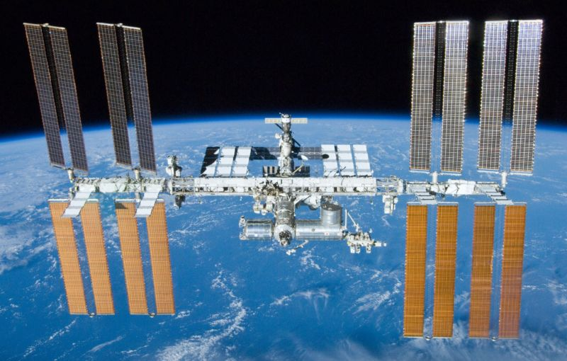 The essentially complete International Space Station in 2010, as seen by space shuttle Atlantis.
