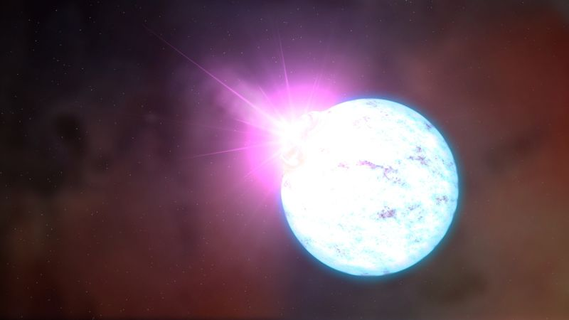 Image of a blue-white sphere, representing the star.