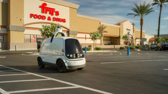 Nuro's driverless delivery vehicle.