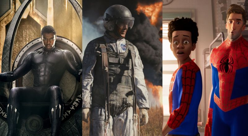 A collage of movie stills from Black Panther, First Man, and Spider-Man: Into the Spider-Verse.