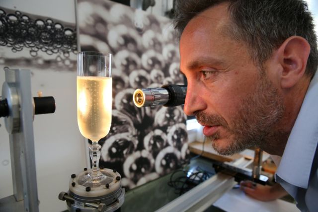 Gerard Liger-Belair studies the physics of champagne in his lab at the University of Reims.