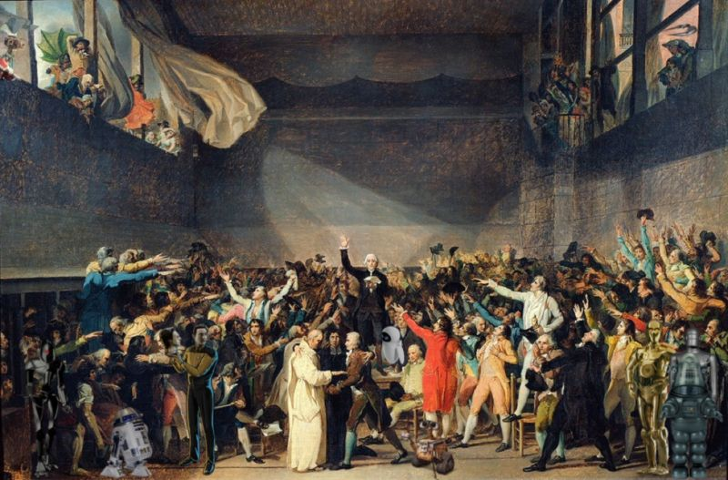 "Composite image based on Jacques-Louis David's unfinished painting, ""Drawing of the Tennis Court Oath"" (circa 1790)."
