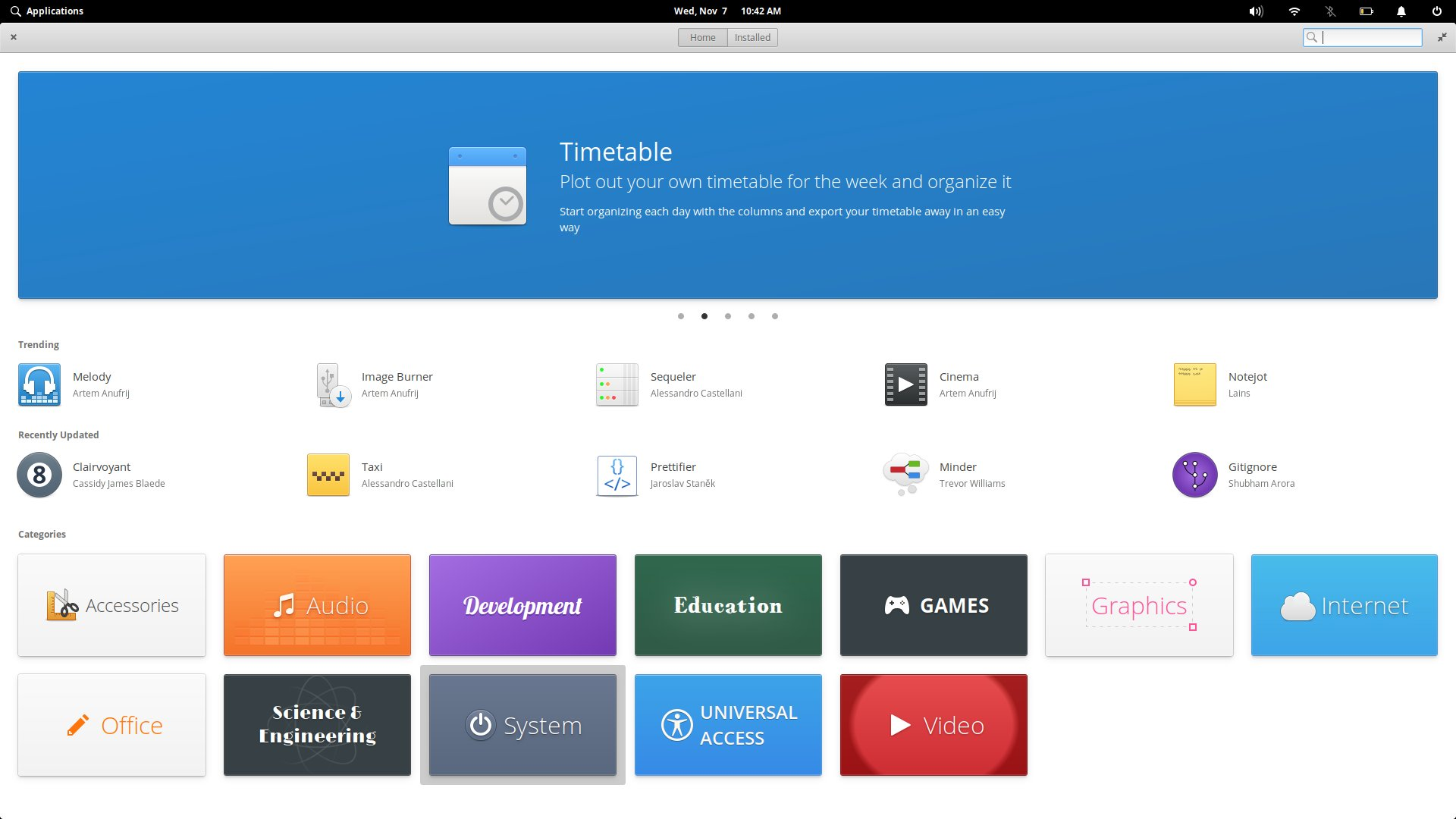 The AppCenter in elementary OS.