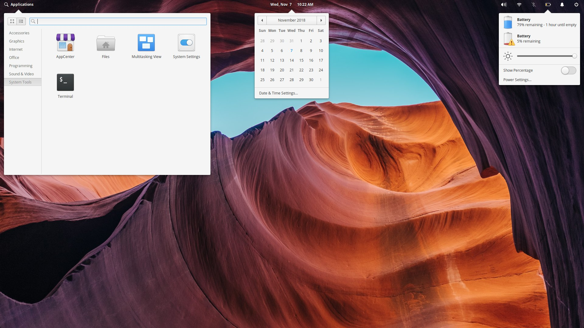 Composite screenshot of some of the top bar menus in elementary OS Juno.