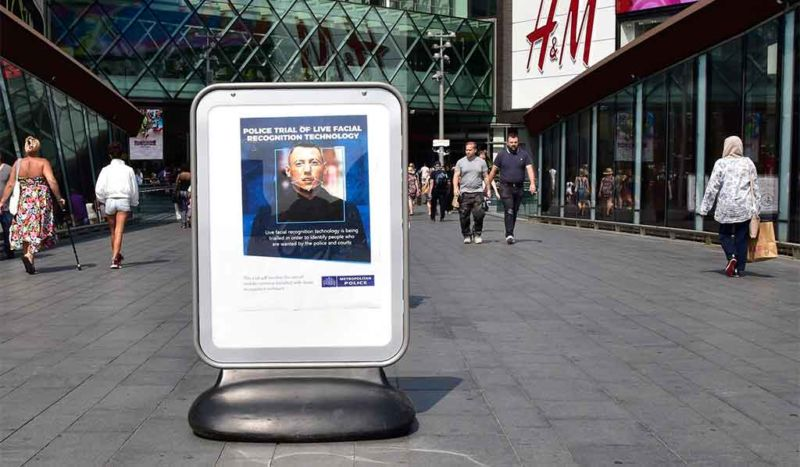 A public notice of a previous Met Police facial recognition test.