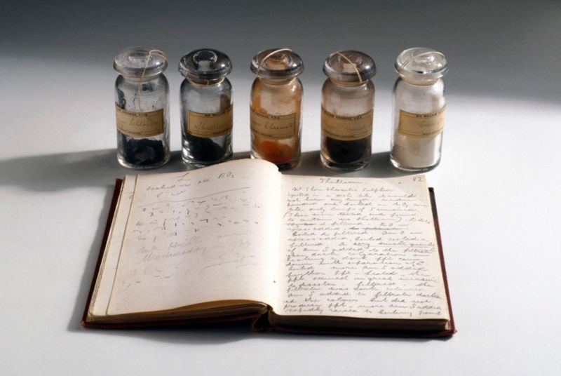The 1861 notebook of Sir William Crookes, containing all his data on thallium samples.