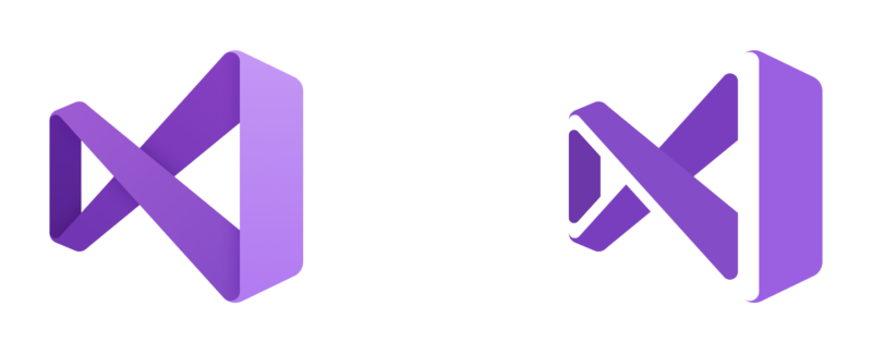 Visual Studio 2019 has a  current icon; the left one for the release version, the right one for previews.