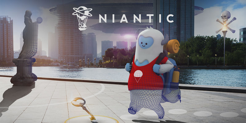 An cute, unfinished digital creature roams an unfinished digital cityscape beneath the Niantic logo.