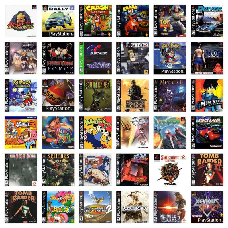 Box art for just some of the unplayable games referenced in the PlayStation Classic's source code.