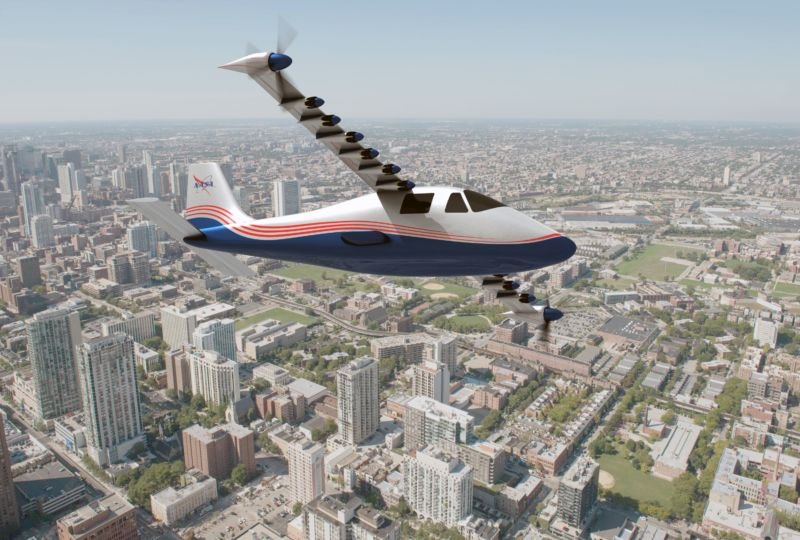Image of an electric aircraft with many small motors.