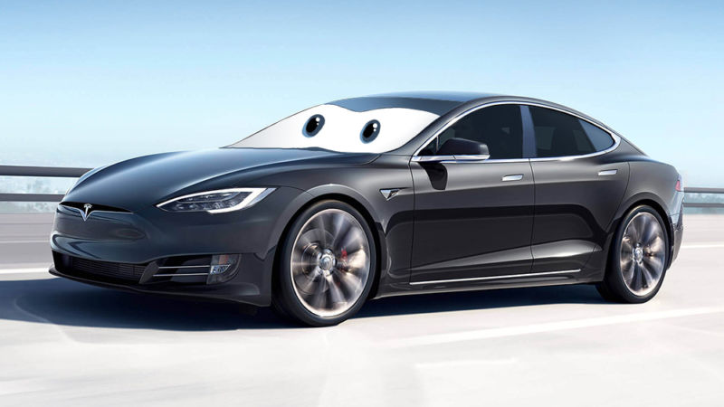 Googly Eyes Have Photoped Onto The Windshield Of A Tesla Sedan