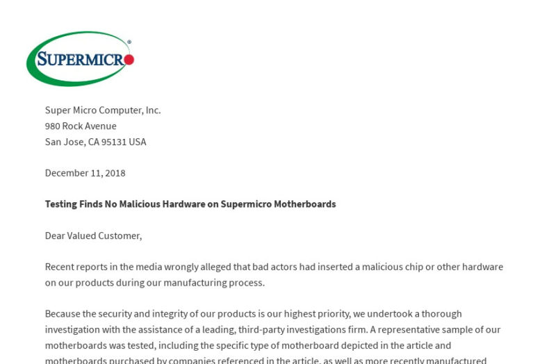 A letter posted by Supermicro executives today announcing that an audit had found no evidence of claims of espionage implants in the company's servers, part of a campaign by the company to counter a report by Bloomberg in October.