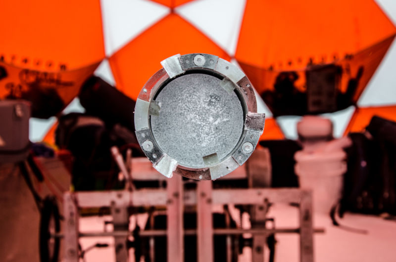 Staring down the barrel of an ice core drill.
