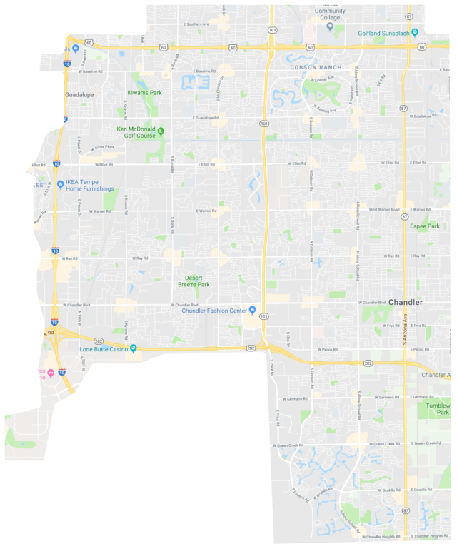 Waymo's approximate coverage map, as shown by the Waymo app to Michael Richardson on December 12, 2018.