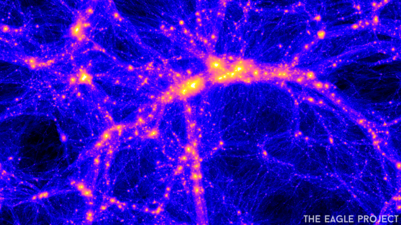 Image of a web of blue threads, representing dark matter, and orange galaxies that form along them.