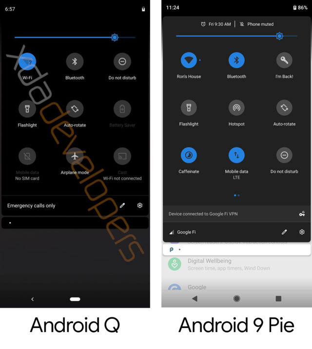 Leaked Android Q build shows off dark mode, improved privacy