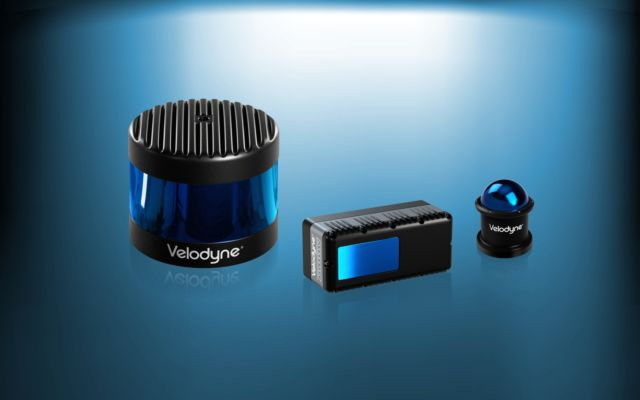 Three Velodyne products: the Alpha Puck, Velarray, and Veladome.