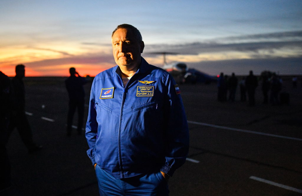 Roscosmos head Dmitry Rogozin is photographed in October 2018 after the launch failure of a Soyuz-FG rocket.