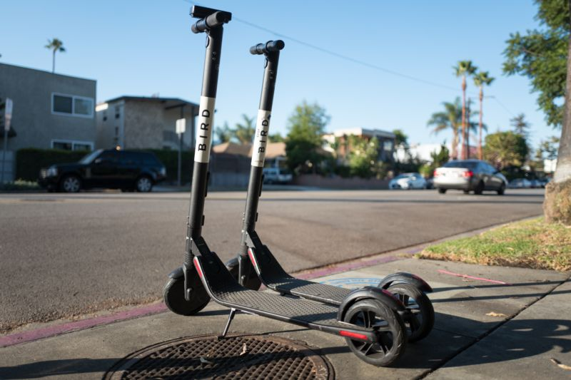 Bird's electric scooters parked along a street in the Marina Del Rey neighborhood of Los Angeles, California, October 21, 2018.
