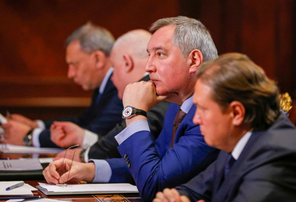 Dmitry Rogozin, general director of the Roscosmos State Corporation, is seen during the meeting.
