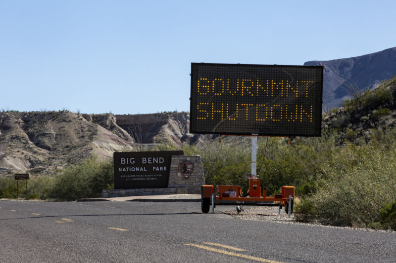 A sign outside Big Bend National Park reads