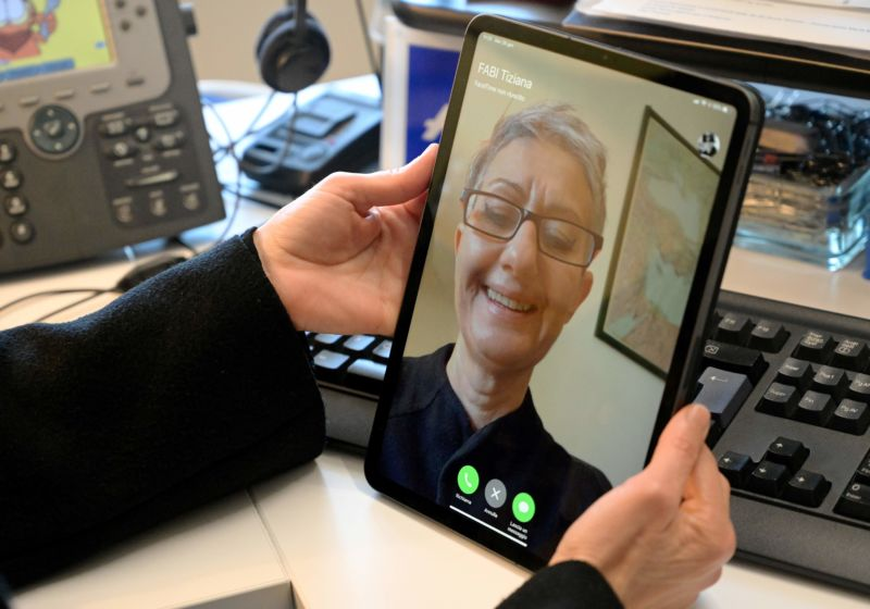 A person uses an iPad for a FaceTime conversation, on January 29, 2019 in Rome.