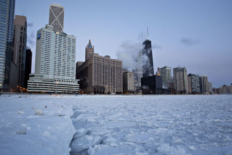 Ice floats on Lake Michigan at dawn in Chicago, Illinois, U.S., on Wednesday, Jan. 30, 2019.