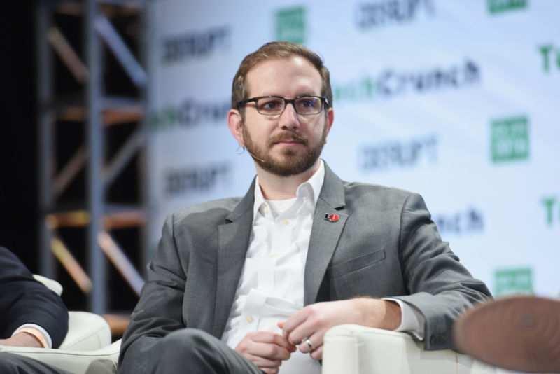 Electronic Frontier Foundation senior staff attorney Nate Cardozo speaks onstage during TechCrunch Disrupt NY 2016 at Brooklyn Cruise Terminal on May 9, 2016 in New York City.