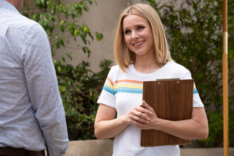 "Kristen Bell plays Eleanor Shellstrop, a former ""Arizona trash bag"" of a human being trying to become a better person in the afterlife."
