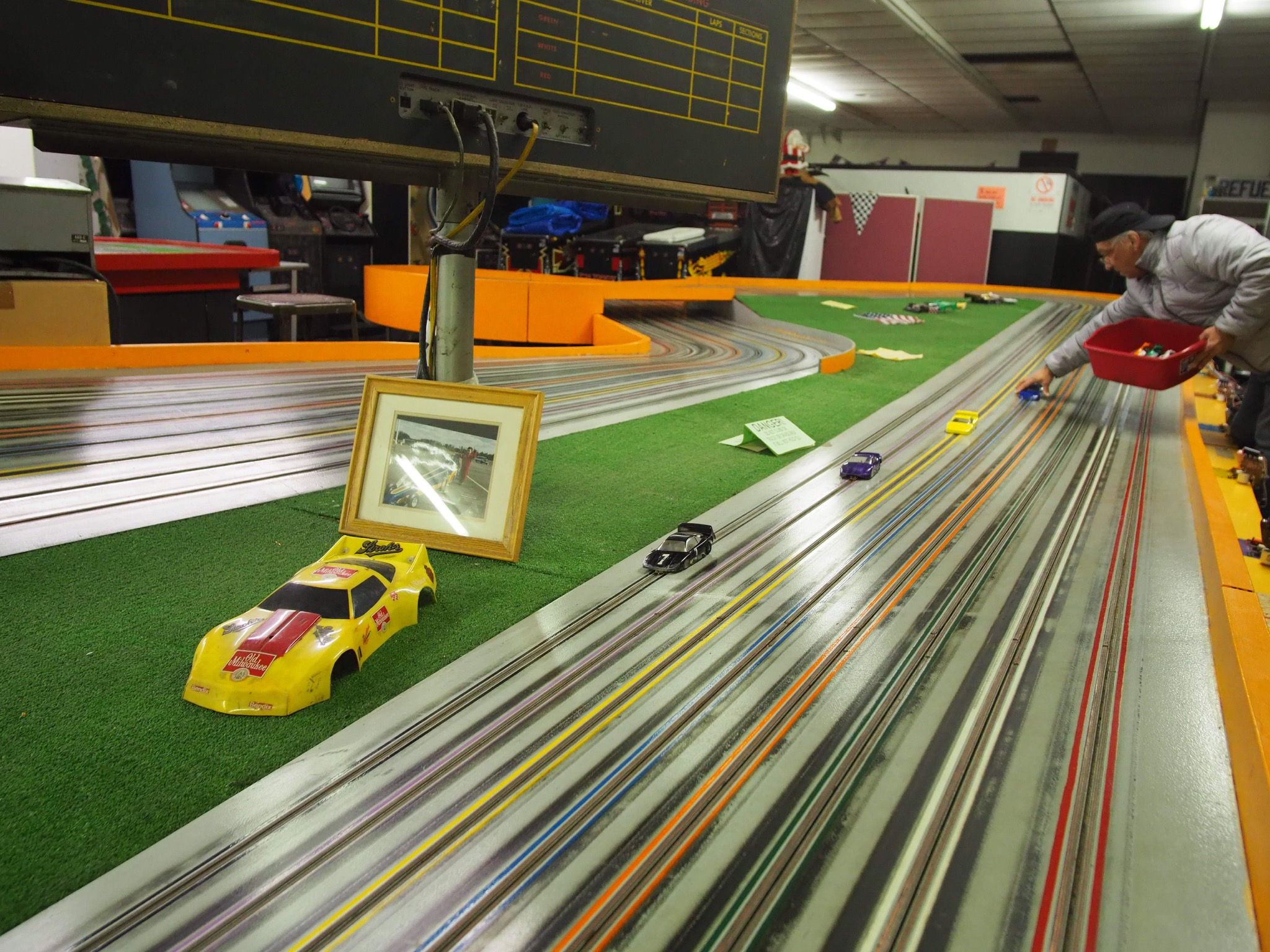 One of the race tracks at Buzz-A-Rama, NYC's last remaining dedicated slot car racing track.