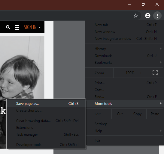 The dark theme is still unfinished, hence this menu with almost illegible black text on a dark grey background.