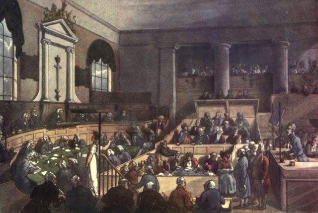 Depiction of a trial in London's Old Bailey Courthouse (1809).