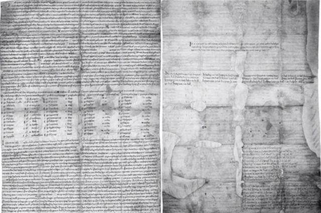 Pages from the Staffordshire charter showing evidence of successive entries and extensive handling.