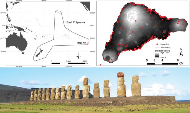 Top left) Rapa Nui in East Polynesia, (top right) locations of image-<em>ahu</em> on Rapa Nui, and (bottom) Ahu Tongariki with <em>moai</em>.