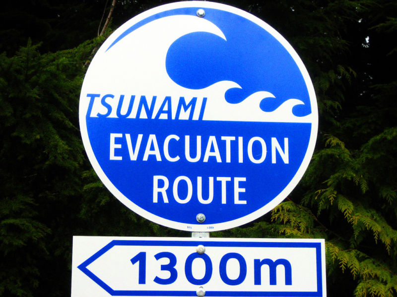 Traffic sign indicating which direction to follow in the event of a tsunami.