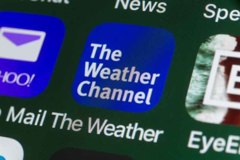 The Weather Channel app's icon on an iPhone screen.