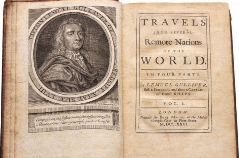 Title page of the first edition of Jonathan Swift's <em>Gulliver's Travels</em>, relating the fictional adventures of one Lemuel Gulliver.