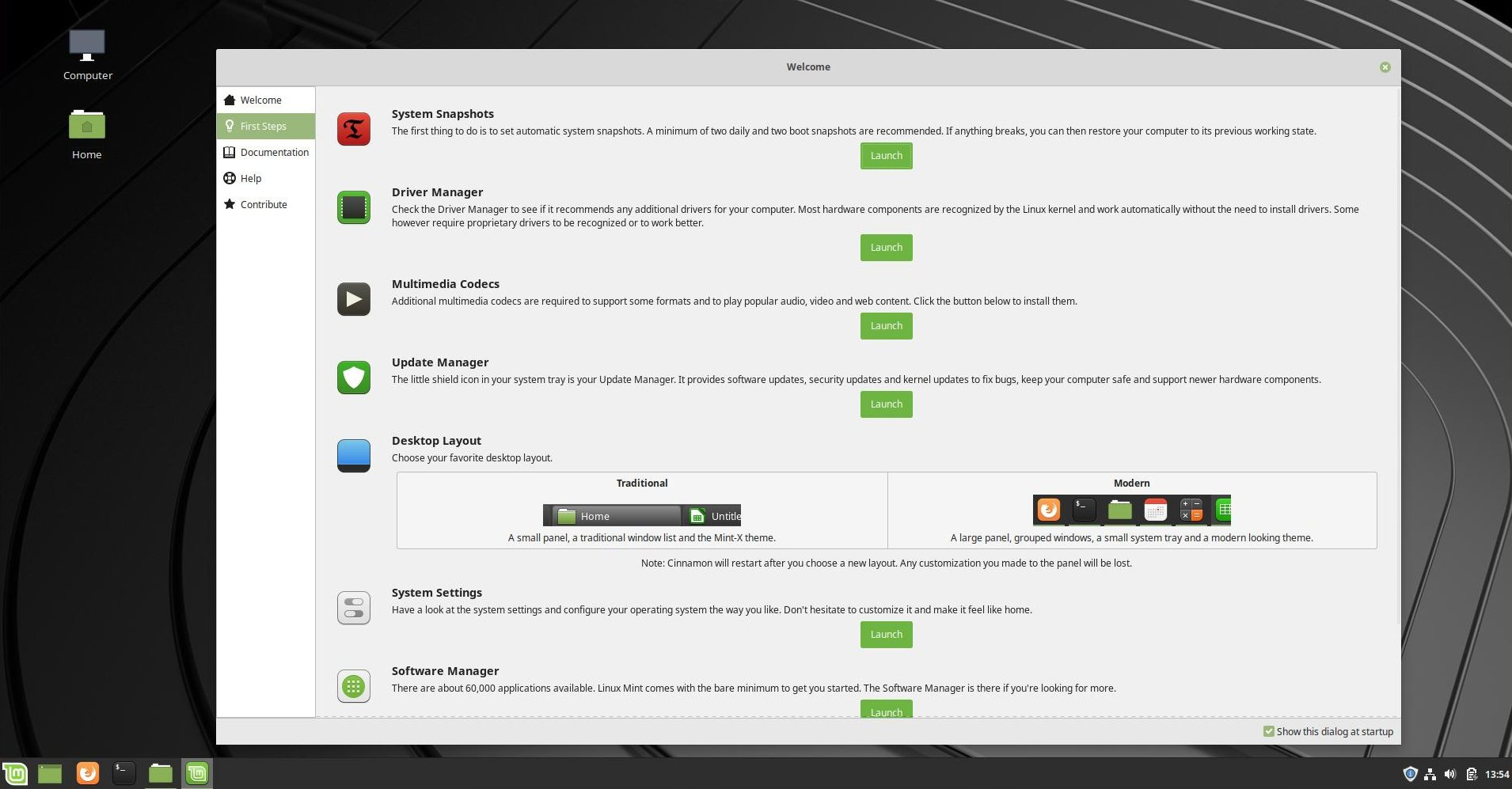 Linux Mint's very nice Welcome app walks you through setting up your machine.