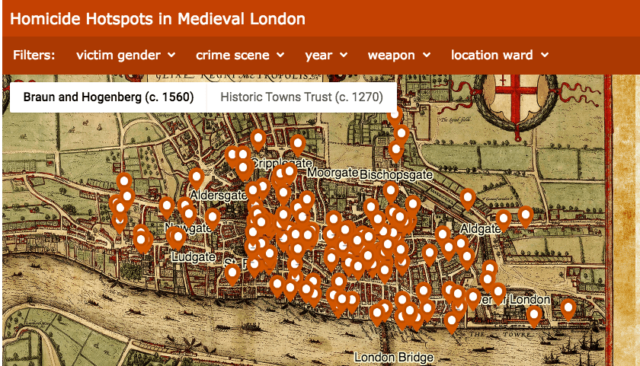 "A screenshot of the ""murder map,"" with digital ""pins"" representing locations of 142 murders in medieval London."