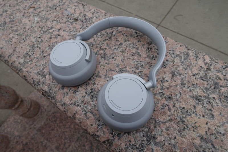 Microsoft's Surface Headphones. Its on-device dial controls are great. Battery life and noise-cancelling, not so much, for the price.