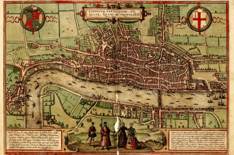 A birds-eye view of London from the south looking north (1572), one of the maps used to create an interactive map of murders in medieval London.