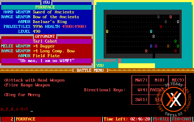 The Pit, a BBS door game. In this shot, Lee Hutchinson was attacking these guys. Or, maybe they're attacking him.