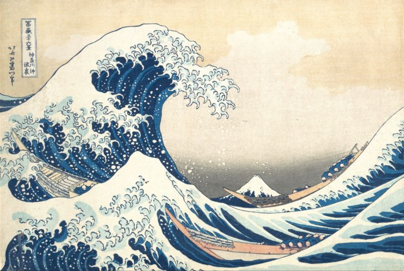 """The Great Wave off Kanagawa,"" a 19th-century woodcut print by Japanese artist Katsushika Hokusai."