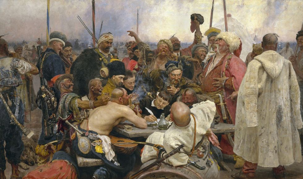 <em>Reply of the Zaporozhian Cossacks to Sultan Mehmed IV</em> by Ilya Repin (1844-1930).