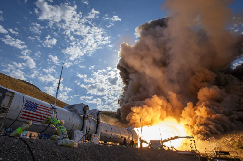A booster for NASA's Space Launch System is successfully fired in 2016.